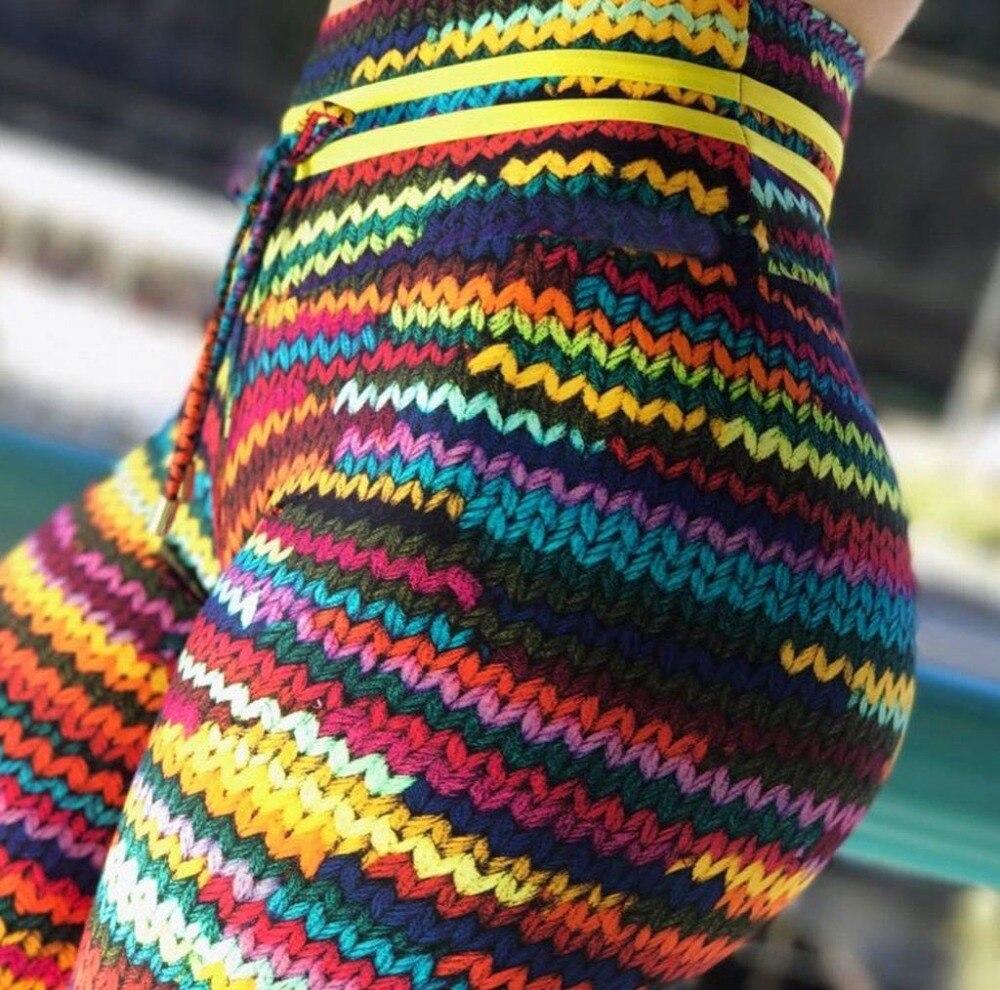 Nuovo Originale Knit Stampa Leggings con 2 Giallo Stringa in Vita e Colorato Davanti Stringa Drop Shipping Leggin