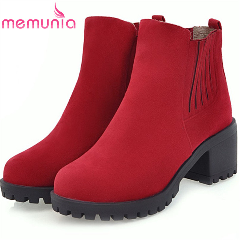 MEMUNIA New arrive ankle boots for women fashion boots in spring autumn platform shoes woman PU nubuck leather high heels boots 2016 new winter ankle high heels nubuck leather women boots with fur fashion platform lace up martin boots for shoes woman