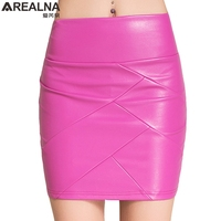 Autumn Winter Faux Leather Skirt Women Slim High Waist Sexy PU Pencil Skirt Vintage Saia Midi