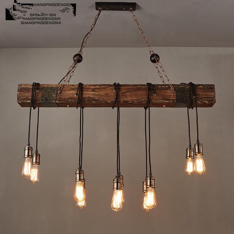 IWHD 10 Heads Wood Vintage Lamp Loft Style Industrial Pendant Light ...