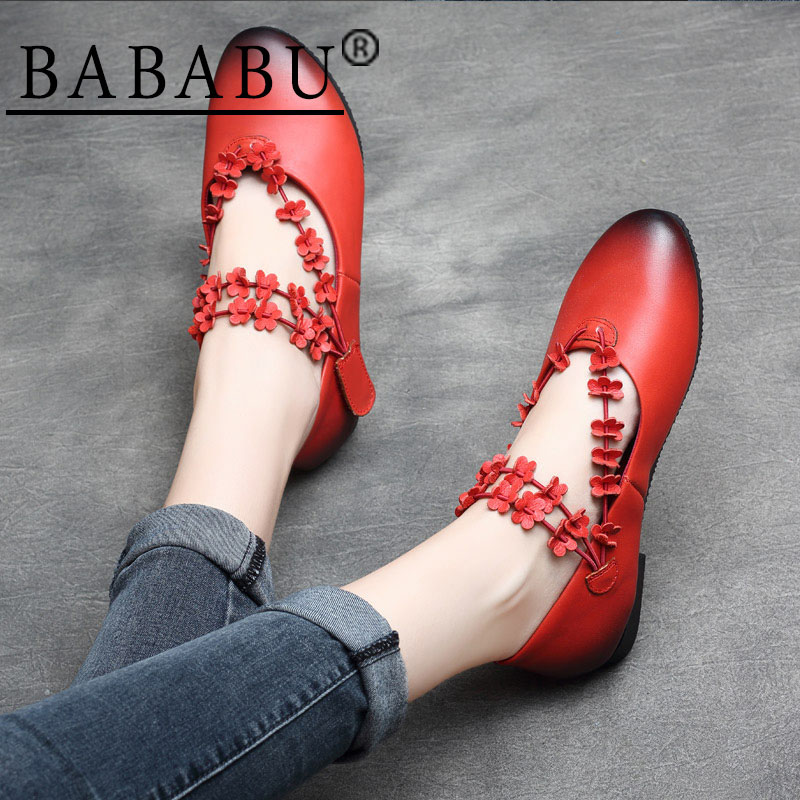 BABABU 2018 New Style Women Slip-on Loafers Shoes Handmade Genuine Leather Women Flats Shoes Comfortable Women Casual FootwearBABABU 2018 New Style Women Slip-on Loafers Shoes Handmade Genuine Leather Women Flats Shoes Comfortable Women Casual Footwear