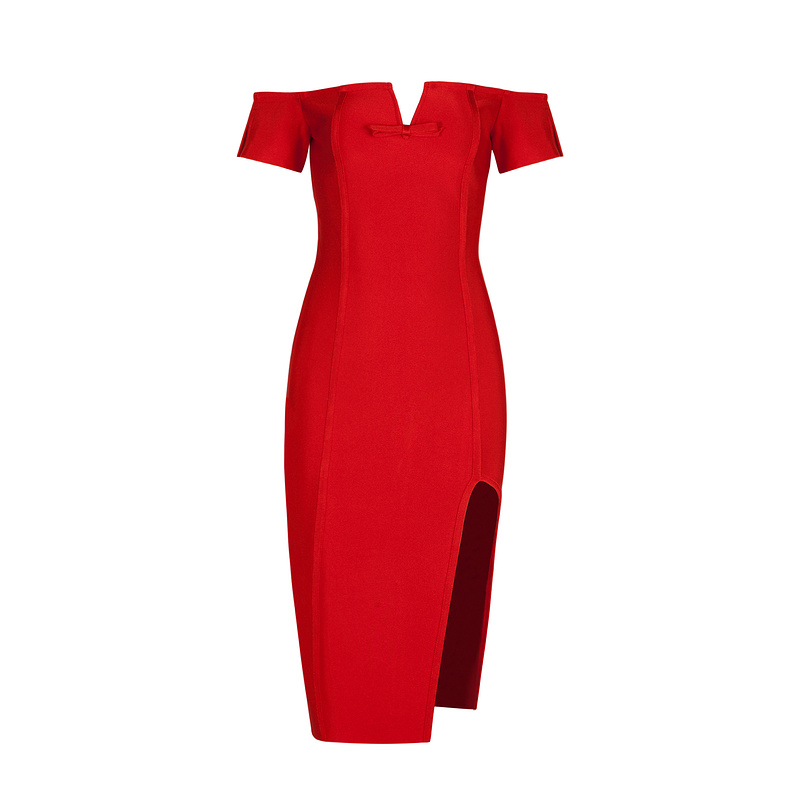 ad3bc99cbd55 2017 Spring dress Women Party Bodycon Bandage Dress short sleeve off  shoulder V neck runway Red midi dress whole H4267-in Dresses from Women s  Clothing on ...