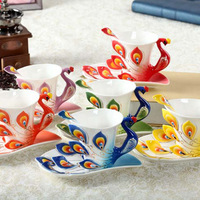 European Peacock Coffee Cup Ceramic Creative Cup Bone China 3D Color Enamel Porcelain Cup with Saucer and Spoon Coffee Tea Set
