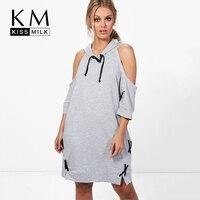 Kissmilk Cold Shoulder Casual Camisola Do Hoodie Das Mulheres Plus Size Vestido Lace Up Solto Pullovers Tops Túnica Midi Vestido de Camisa
