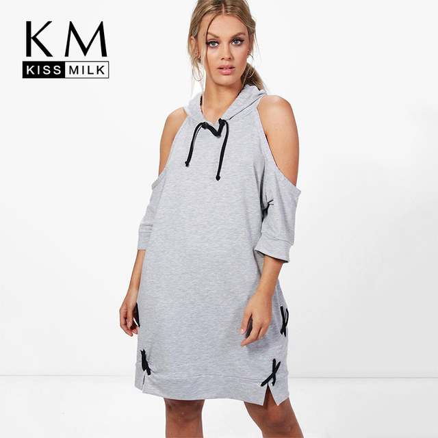 Kissmilk Women Plus Size Cold Shoulder Casual Hoodie Sweatshirt Dress Lace  Up Loose Pullovers Tunic Tops Midi Shirt Dress-in Dresses from Women\'s ...