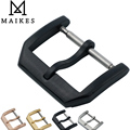 MAIKES New 18mm 20mm Leather Watch Band Strap Buckle Black 316L Stainless Steel Brushing Clasp Case For IWC Watchband