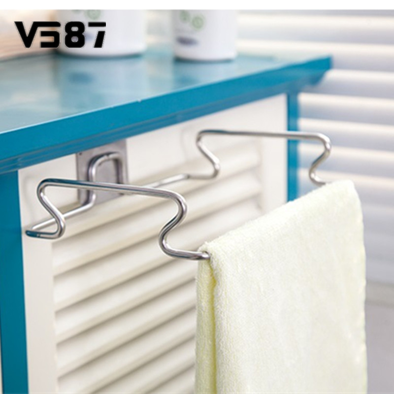 Metal Hanging Garbage Bags Rack Kitchen Wash Cloth Towel Storage ...