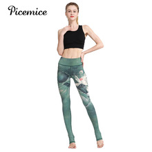 Picemice Women Sexy Yoga Pants Printed Dry Fit Sport Pants Elastic Fitness Gym Workout Running Tight Leggings Female Trousers недорого