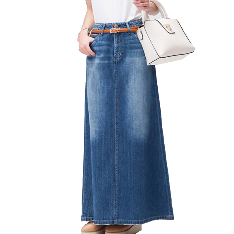 Free Shipping 2018 New Fashion Long Casual Denim Skirt Spring A-line Plus Size S-2XL Long Maxi Skirts For Women Jeans Skirts new female casual sexy rose denim jeans with embroidery ripped vintage pencil jeans for women cuffs long pants plus size 2xl