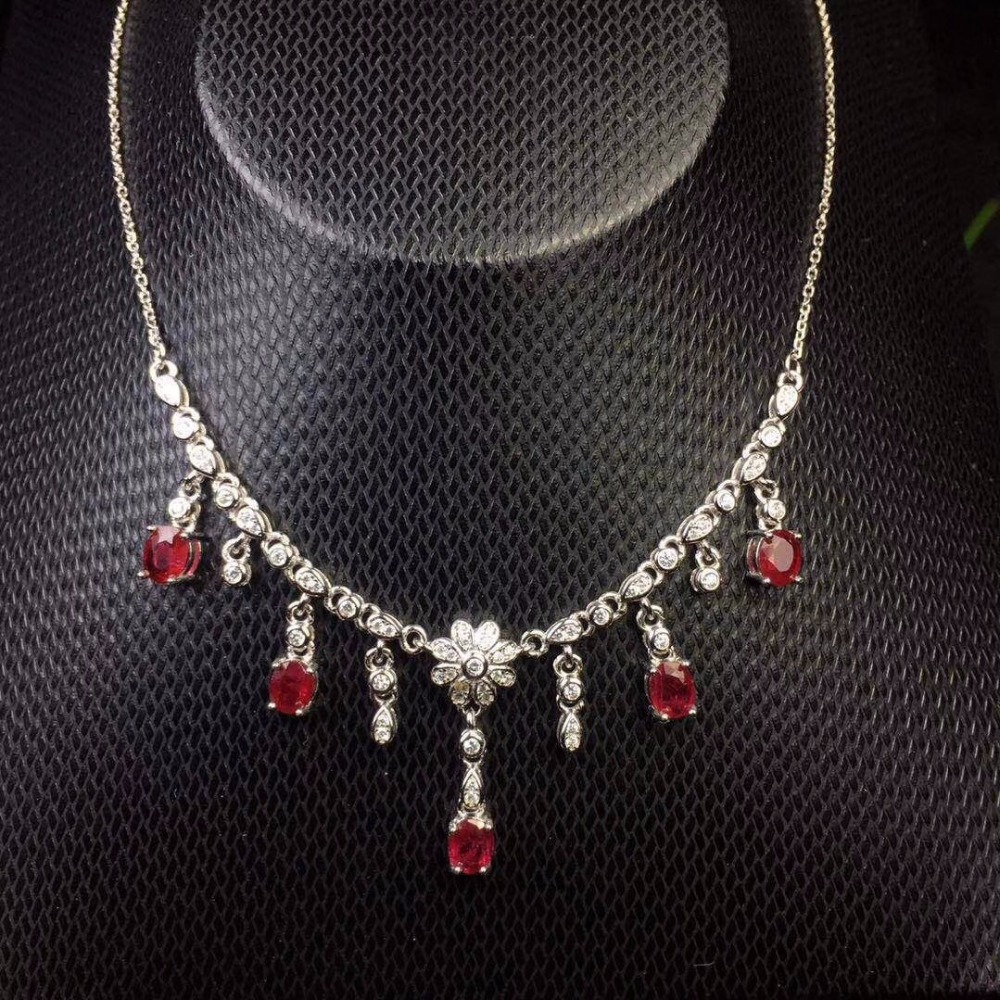 Tested Natural Ruby Choker Necklaces for Women 4 5mm 5Pcs Birthstone 925 Sterling Silver with Velvet