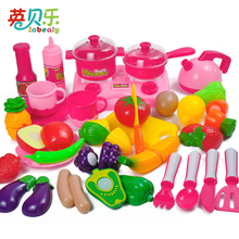 34PCS/set Miniature Pretend Play Kitchen Toys Tableware Cutting Fruit Food Vegetable Tea Set Funny Cooking Education Toys
