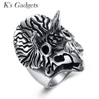 K S Gadgets Titanium Steel Punk Rock Animal Stainless Steel Owl Ring For Men Cool Silver