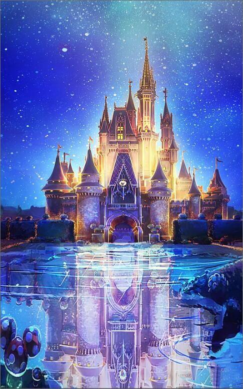 5x7ft Blue Snow Flakes Bokeh Sky Castle Palace Square