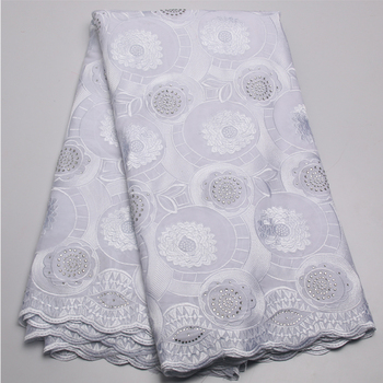 New Fashion White Customized Embroidery Lace Fabric / Allover Swiss Guipure Nigeria Embroidery Lace MR437B-4