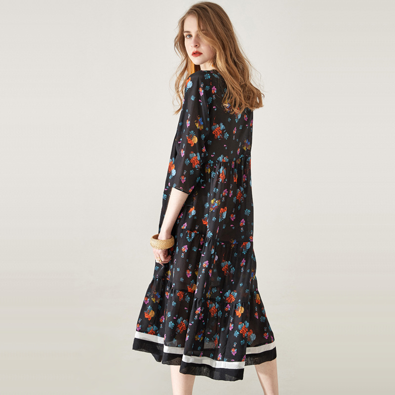 Trois Printemps Noir Robe Manches 100Réel En Chic O Trimestre Style De Soie Luxe Vêtements Ckouccoo Femmes cou Prairie Impression 2019 f6gvIYyb7