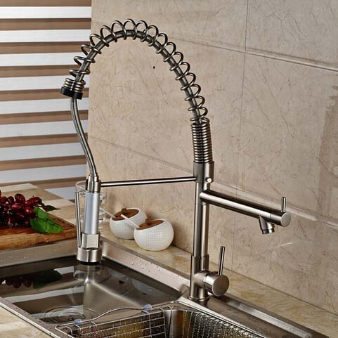 Spring Kitchen Faucet Dual Sprayer Spout Deck Mounted Vessel Mixer Tap Hot and Cold Water chrome finish dual spout kitchen sink faucet deck mount spring kitchen mixer tap kitchen hot and cold water tap