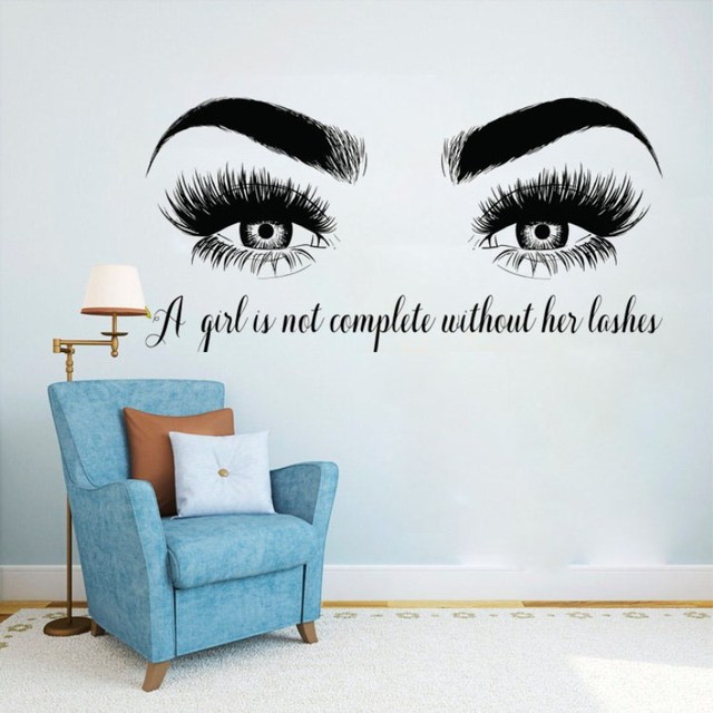 YOYOYU Lashes Eyes Vinyl Wall Sticker Beatuy Salon Quotes Bedroom Removeable Decal Living Room Home Decoration Art Poster ZX401