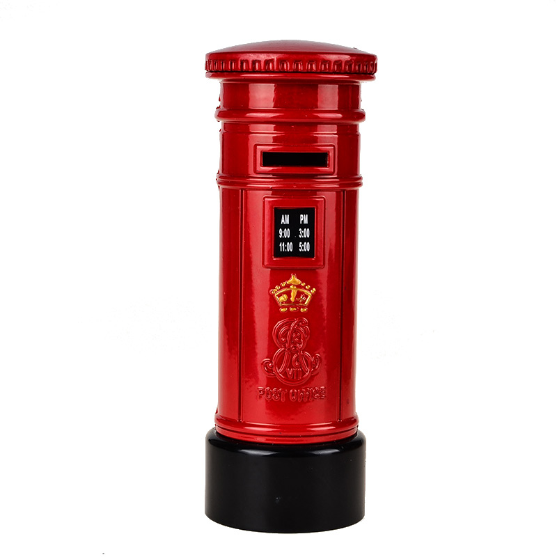 BOHS Alloy Metal British Style London Mailbox Telephone Booth Post Office Coin Money Bank Model Birthday Gift 15*5.5cm