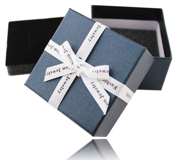 50pcs lot High Quality Dark Blue Beige Ribbon Bowknot Necklace Earrings Rings Packaging Gift Box Nice