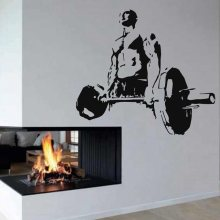 Gym Sticker Fitness Decal Bodybuilding Posters Name Barbell Vinyl Wall Decals Parede Decor Mural 19 Color Choose Gym Sticker