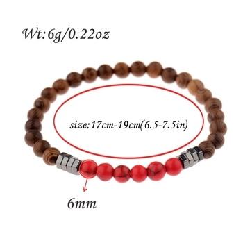 2019 Classic Women 6MM Natural Wood Beads Bracelet Men Ethnic Hematite Lava Stone Bracelet Homme Prayer Jewelry Yoga Bracelet 5