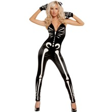 Sexy School Girl Costume Real Disfraces 2016 Sexy Strap A Halloween Party V-neck Printed Sleeveless Skeleton Jumpsuits Lc89024