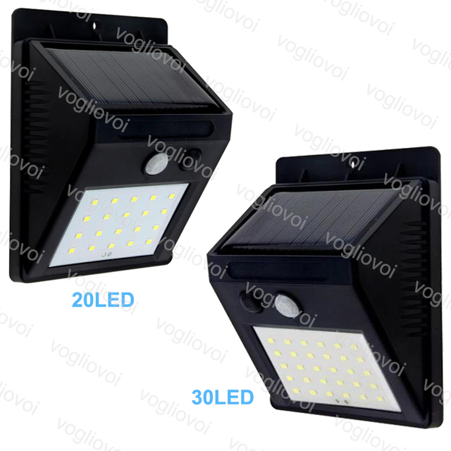 Vogliovoi Solar Led Outdoor Lighting 20LEDs 30LEDs Solar Panels Power PIR Motion Sensor Waterproof LED Garden Light Wall Light
