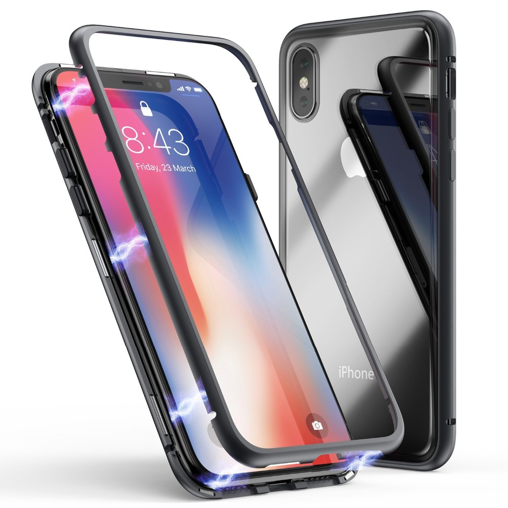 Magnet absorption Aluminum metal frame Magneto phone cases for iPhone X 6 6S 7 8 Plus Anti-Scratch Tempered Glass Back Cover