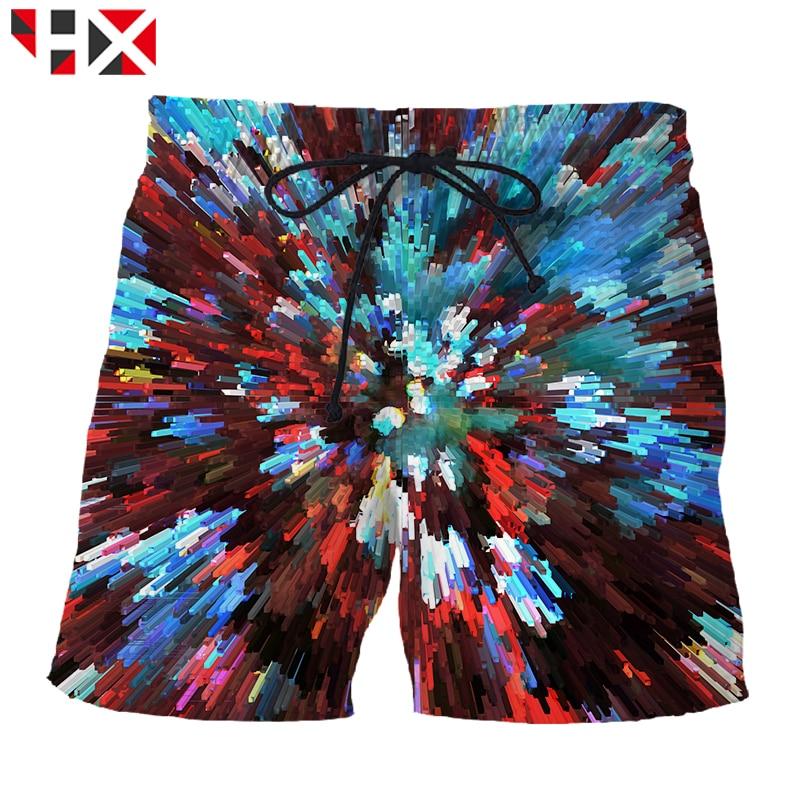 Hx Summer 3d Printed Hip Hop Men Shorts Visual Art Unisex Shorts Stun Art Harajuku Streetwear Short Pants A550 Men's Clothing
