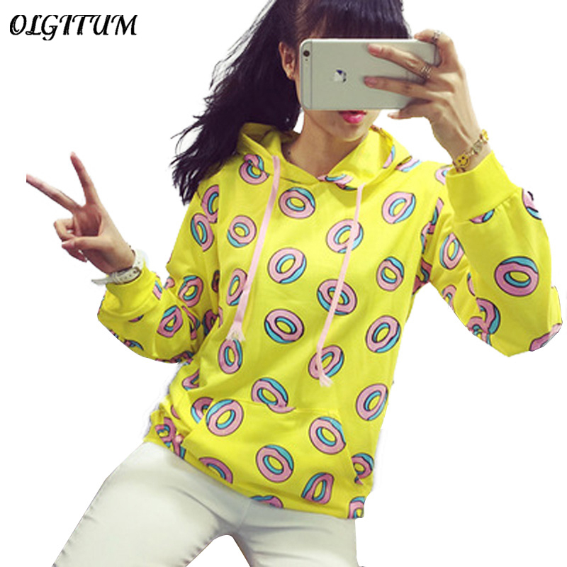 HOT SALE!Cute donut print pullovers 2018 autumn women hoodies sweatshirts yellow large size M-XL fashion