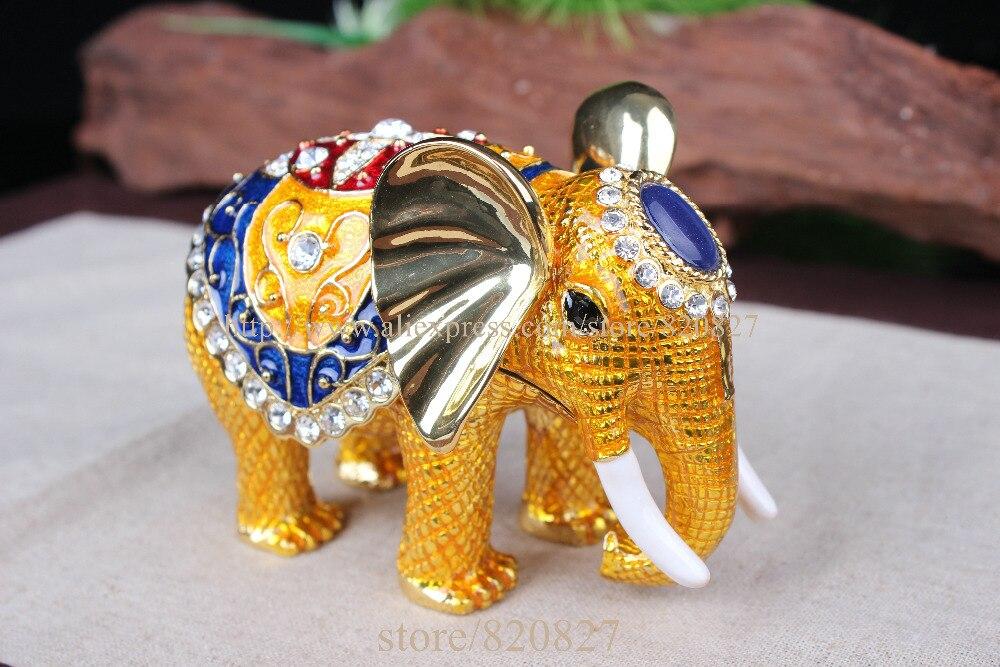 Gros Éléphant En Cristal Clouté Bijoux En Étain Boîte À Bijoux À La Main anneau de support en métal Éléphant Bibelot Boîtes Bijoux Cadeaux De Mariage - 5