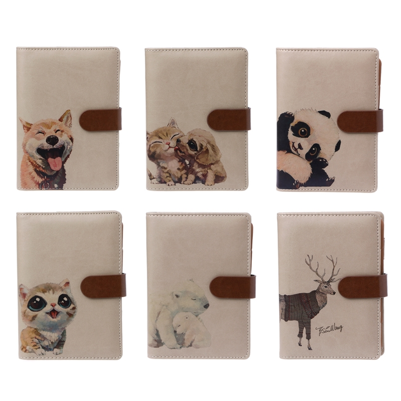 1 Pc Leather Notebook Kawaii Panda Dividers Planner A6 Binder Travel Diary Journals New Design fashionable red slender twill pattern 7cm width tie for men