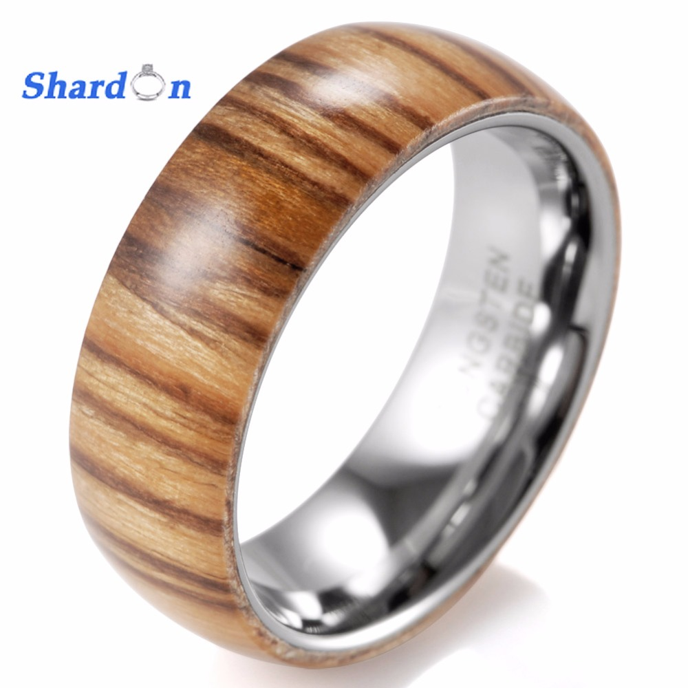 купить SHARDON 8mm Domed high polished Tungsten ring Men's Wedding Band with Koa wood inlay Engagement ring for US Size 8-13 по цене 1653.7 рублей