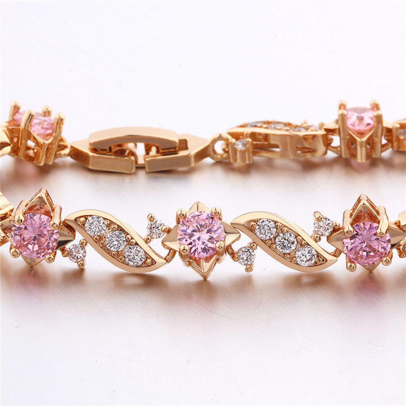 BUDONG 18cm Fashion Hand Bracelets for Women Silver/Gold Color Bracelet Pink Crystal Cublic Zirconia Jewelry Bangles XUL104 5