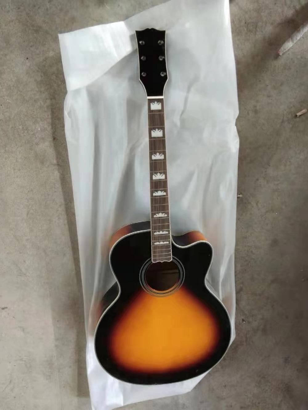 Free Shipping Hot Acoustic Diy Kit Guitar Sj200 Sunburst Cutaway Jumbo Guitar Customized Guitarra