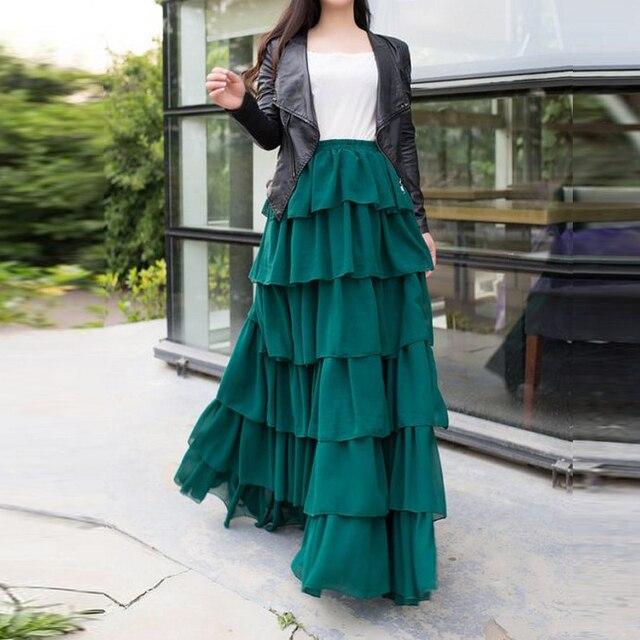 f1faeaae8 € 40.66 10% de DESCUENTO De longitud completa verde oscuro falda de cintura  elástico una línea de piso longitud largo Maxi falda con gradas ...