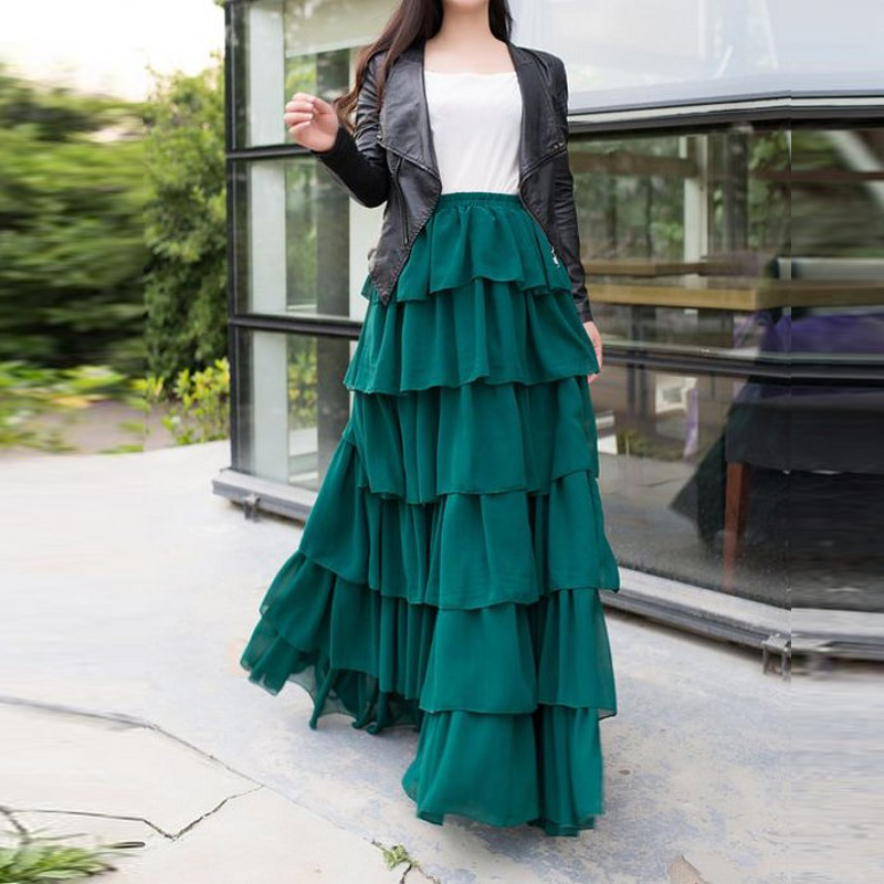 Full Length Dark Green Skirt Custom Made Elastic Waistline A Line Floor Length Long Maxi Skirt Tiered Ruffles Skirts Women