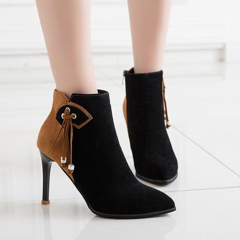 Высокие пинетки Для женщин с на высоком каблуке Модные с кисточками матовые ботинки martin ...