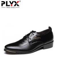 PHLIY XUAN New 2018 Fashion Men Office Leather Shoes Pointed Toe With Metal Strips Luxury Brand