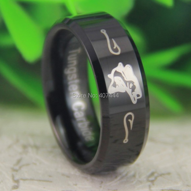 Free Shipping USA UK Canada Russia Brazil Hot Sale 8MM Black Beveled Outdoor Fishing Design The New Men's Wedding Tungsten Ring