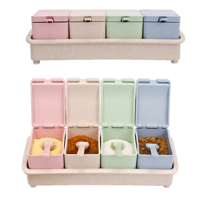 Home Kitchen Four Grid Spice Jar Condiment Storage Container Seasoning Bottle Kitchen Food Box Wheat Straw Spice Box Kit