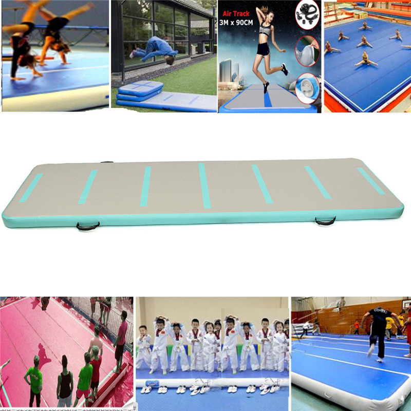 Newest Inflatable Air Track Floor Home Gymnastic Cheerleading Tumbling Mat GYM with Hand Pump funny summer inflatable water games inflatable bounce water slide with stairs and blowers