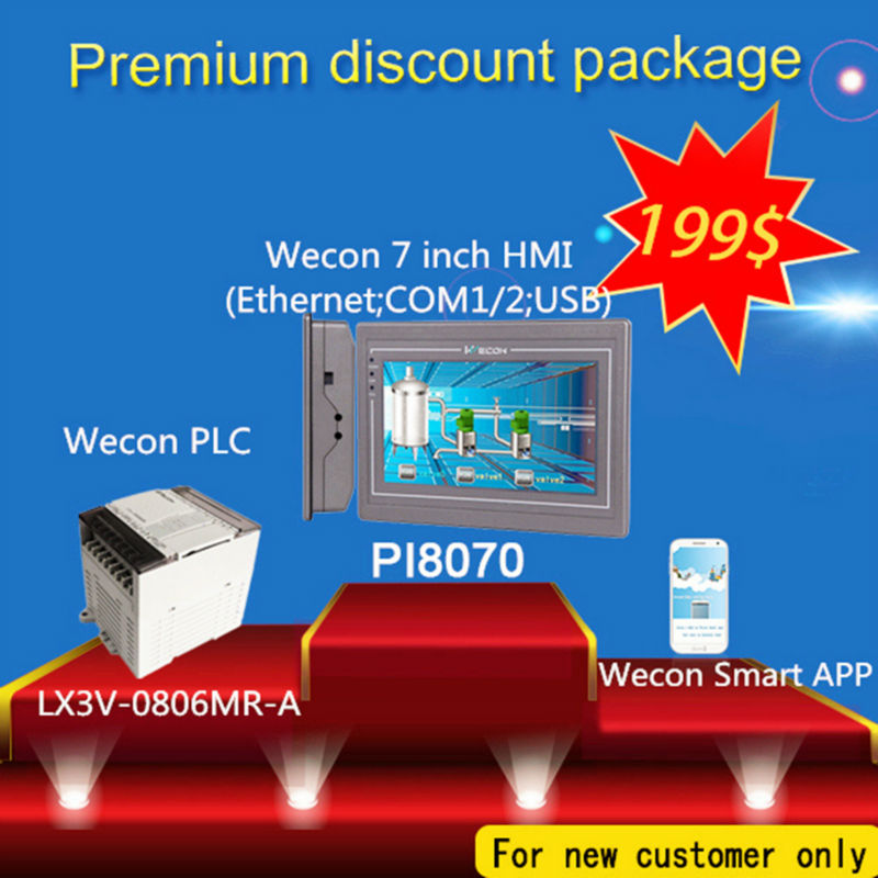 7 inch HMI support ethernet port with 14 digital I/O PLC learning plan wecon 10 2 inch hmi and 14 digital i o plc transistor