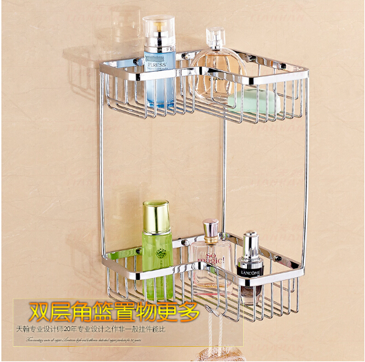 Top quality chrome double tiers total brass bathroom Corner shelves basket holder bathroom soap holder bath shampoo shelf top quality brass antique bronze double tiers bathroom shelves basket holder bathroom soap holder bathroom shampoo shelf