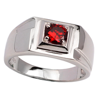 925 Sterling Silver Men Ring Jewelry 5.5mm Round Garnet Red Cubic Zirconia Anillo Plata Hombre Size 10 11 12 13 R500