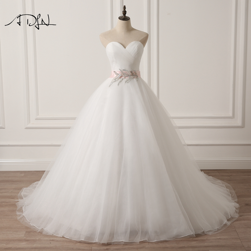 ADLN Sweetheart Sleeveless Puffy Wedding Dress with Pink Sash A line  White/Ivory Tulle Princess Bridal Gown Plus Size