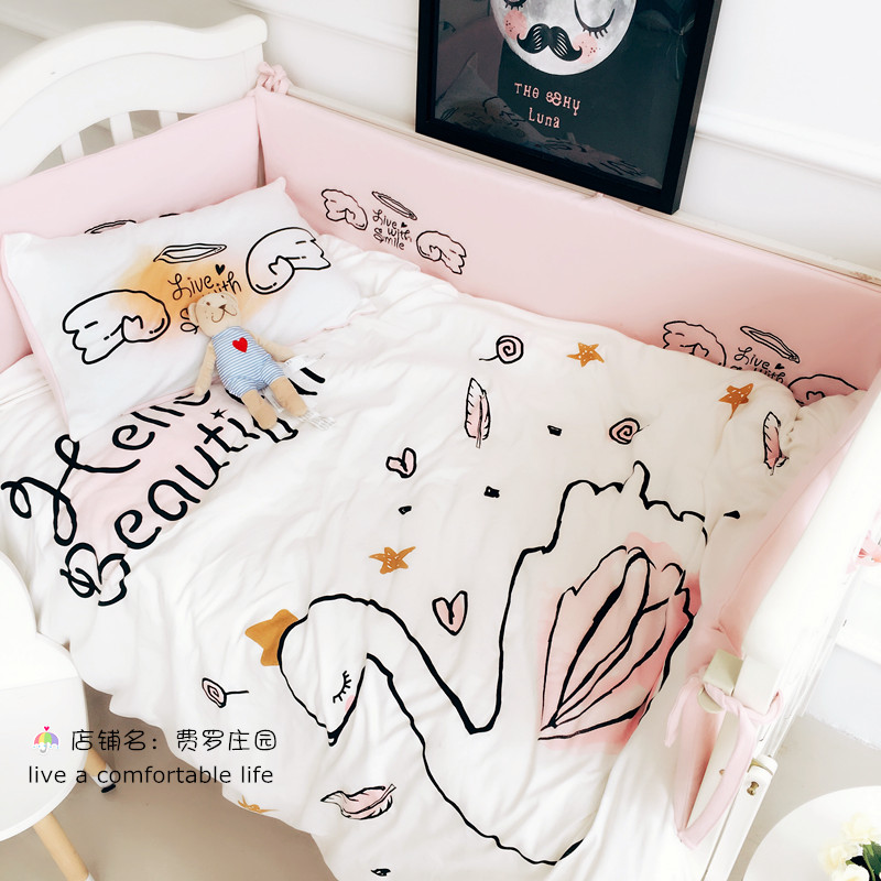 new baby bedding sets knitted cotton baby 3pcs set duvet cover, sheets, pillowcases, swan print Princess room decoration nightmare before christmas 4pcs bedding set duvet cover bedspread pillowcases