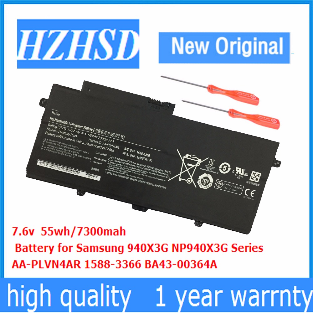 7.6 V 55wh/7300 mAh Nouveau Original AA-PLVN4AR batterie d'ordinateur portable Pour SAMSUNG NP-940X3G NP-910S5J NP-930X3G 940X3G NP910S5J