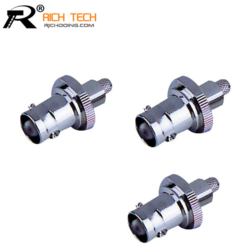 BNC FEMALE BULKHEAD CRIMP Connector New BNC female crimp straight for RG58 RG59 RG6 RG174 RF Coax Adapter connector
