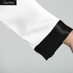 Image 3 - Lilysilk Nightwear פיג מה עבור גברים שינה טרקלין ארוך משי טהור 22 Momme זוג שרוול ארוך כפתורי אקזוטי הלבשת מותג יוקרה